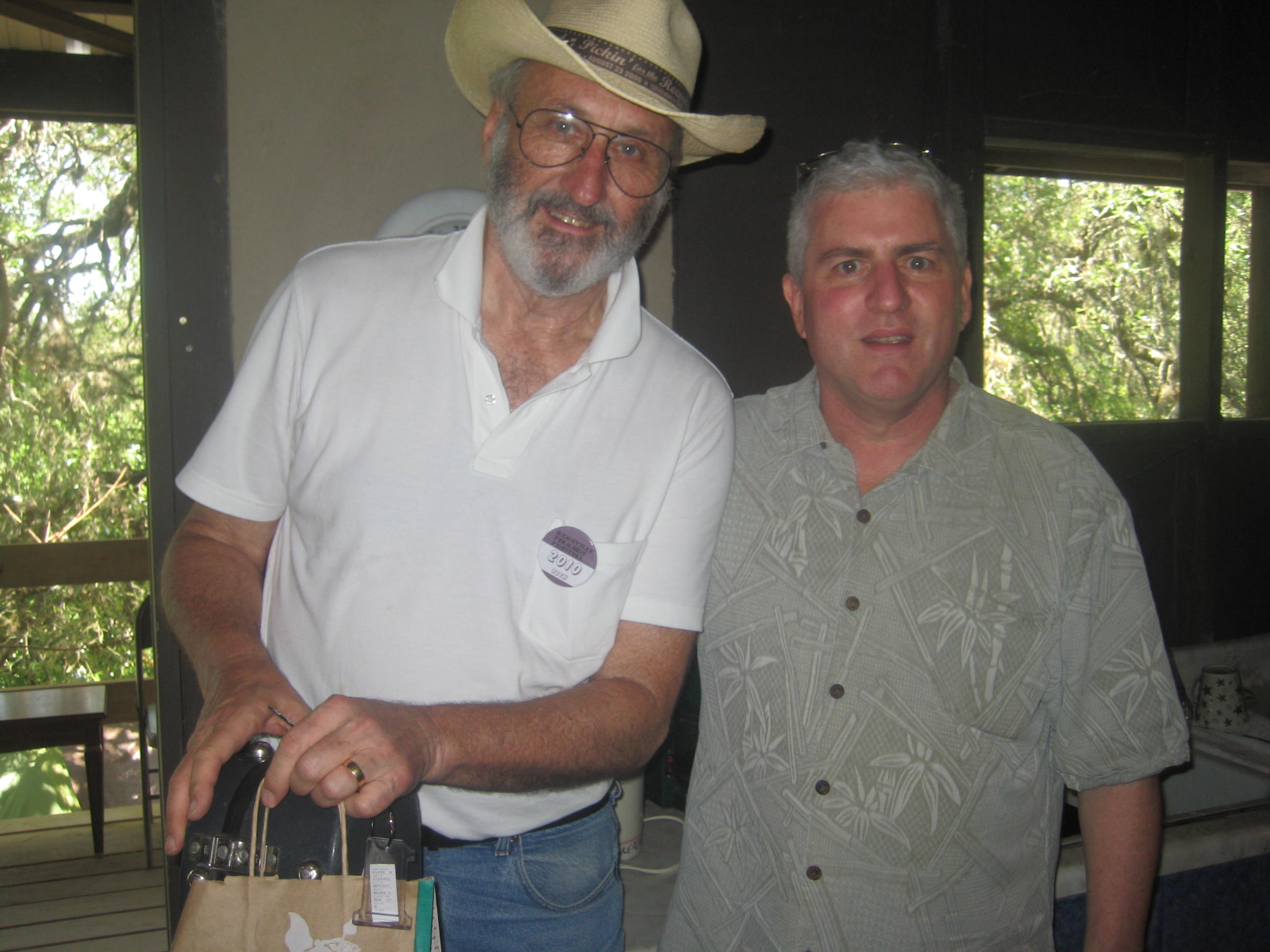 Steve and Noel Paul Stookey backstage at the Threadgill Theatre.